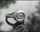 Pink Tourmaline Ring Handmade Silver Spiral Rattle