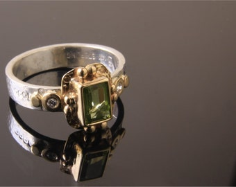 Peridot and Diamond Ring Gold and Silver Handmade