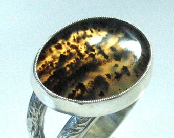 Picture Agate Ring Silver Golden Yellow Montana  Handmade