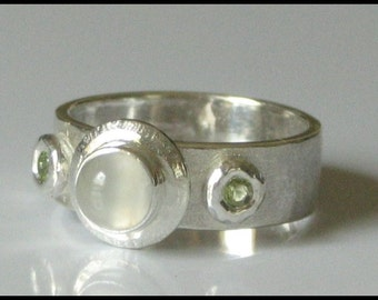 Moonstone Ring with Peridot and Sterling Silver Handmade