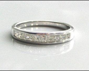 Diamond Wedding Band 10 Stone Princess Cut Diamonds and White Gold