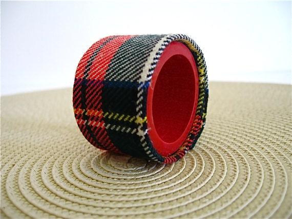 Tartan Plaid Napkin Rings - set of four in red white and black, houseofpeltier