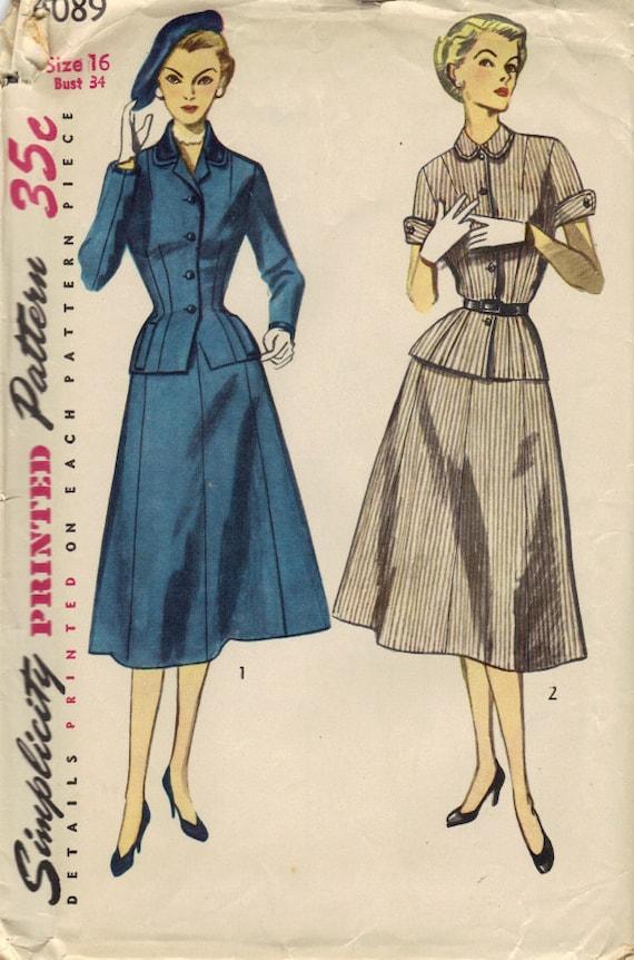 Vintage Simplicity 4089 suit dress Bust 34