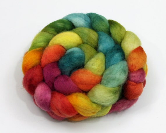 BFL Wool Top (Roving) - Hand Painted Felting or Spinning Fiber