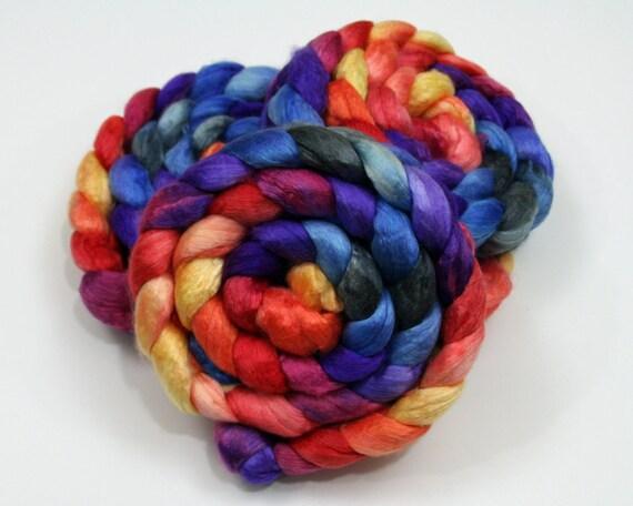 Merino Wool/ Cultivated Silk Roving - Handpainted Spinning Fiber