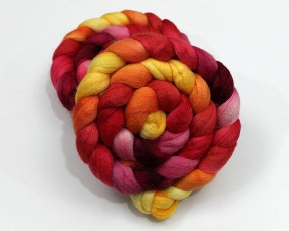 Merino / Silk Roving - Handpainted Felting or Spinning Fiber
