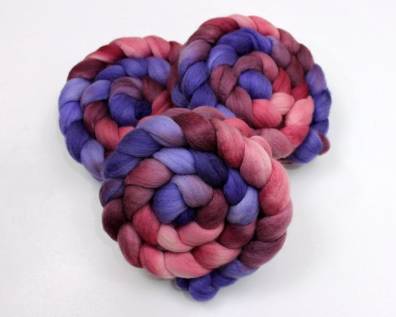 Silk/ Polwarth Wool Roving - Handpainted Felting or Spinning Fiber