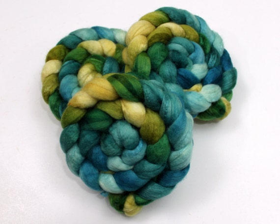 BFL Wool/ Silk Roving (70/30) - Handpainted Felting or Spinning Fiber