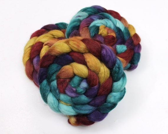 Alpaca/ Silk/ Merino Wool Roving - Handpainted Spinning Fiber
