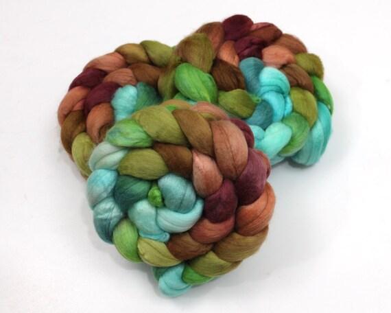 Superfine Merino Wool/ Tussah Silk Roving (50/50) - Handpainted Spinning Fiber