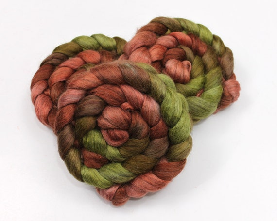 Alpaca/ Silk Roving - Hand Painted Roving for Spinning or Felting