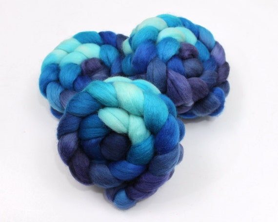 Falkland Wool Top Roving - Hand Painted Fiber for Spinning or Felting