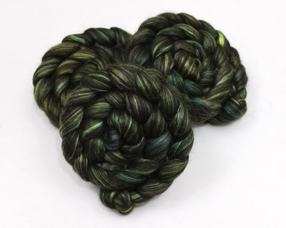 Black Alpaca/ Cultivated Silk Roving - Hand Painted Roving for Spinning or Felting