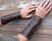 Distressed Steampunk Brown Leather Gauntlets or Bracers with Antiqued Brass Hardware
