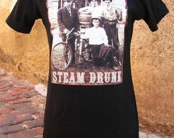 Steampunk Sepia on Black Cotton T-shirt ladies Short Sleeve