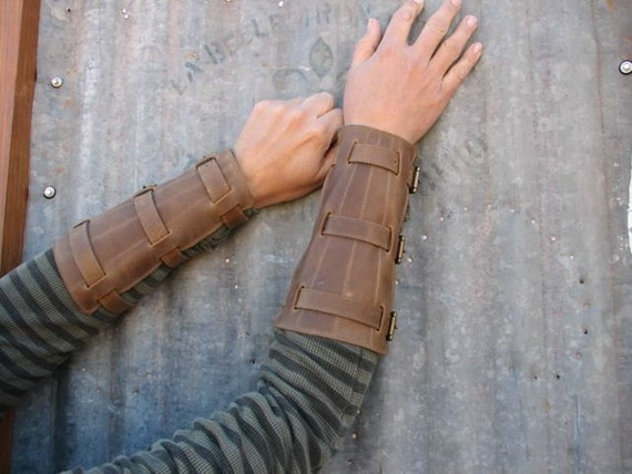Steampunk Oiled Brown Leather Bracers with Antiqued Brass Hardware