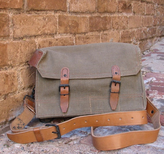 Vintage French Military Canvas and Leather Messenger Bag