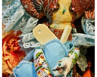 pollie gris gris artisan voodoo doll -blue crush edition- w/ pandoras box, 1/4 oz perfume/cologne, skeleton key and sacred heart w/pins
