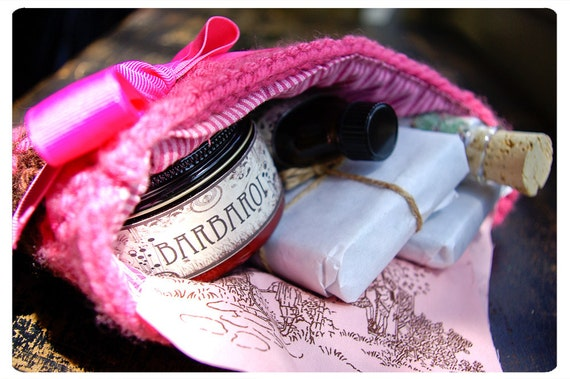 knit clutch o goodies- calamity jane's mini stashbag number two - 2 large bars o soap, 4 oz body butter, 1 oz bath oil and bath salts