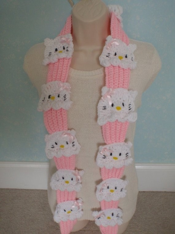 crochet hello kitty cupcake scarf fun gift ready to by Nora23
