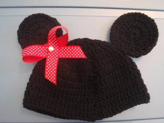 crochet  hat minnie mouse  or mickey children