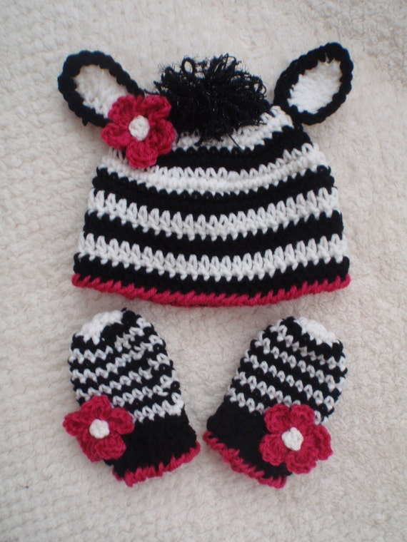 Crochet Zebra Hat : crochet hat mittens gloves zebra flower boy girl more sizes. 2t-4t ...
