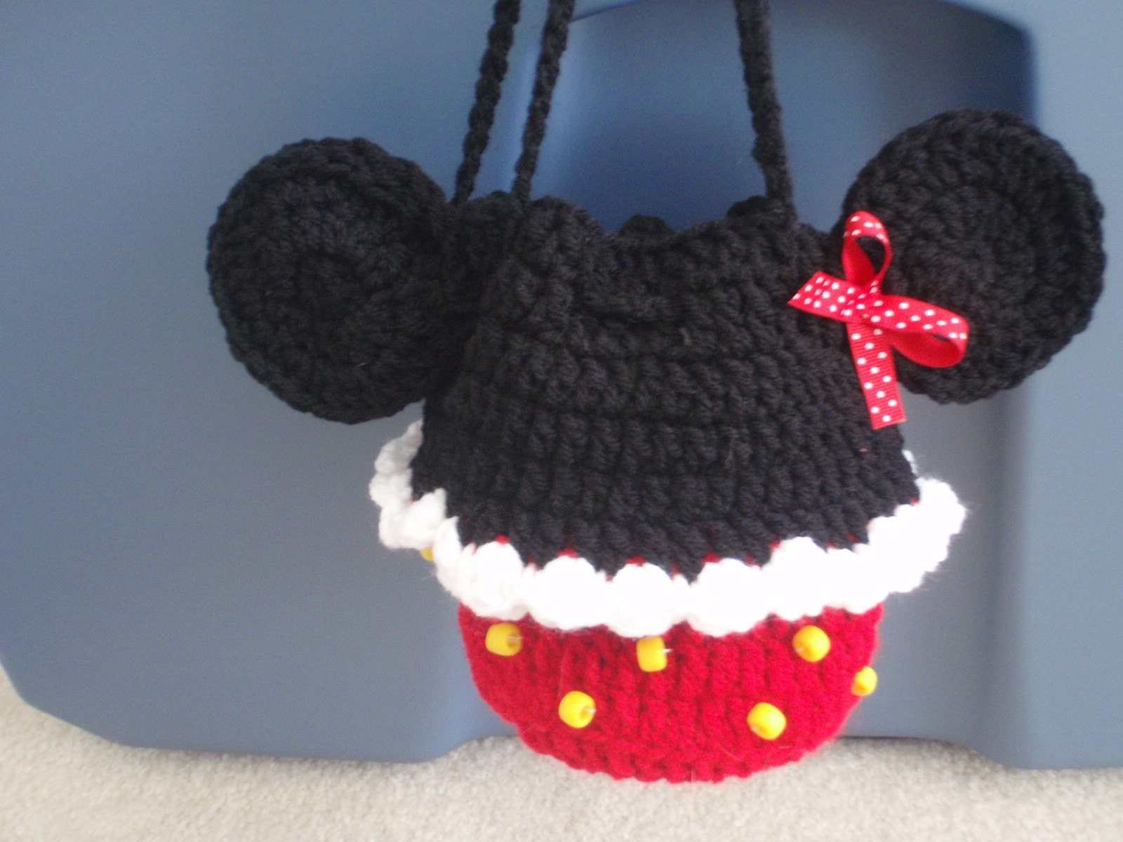 crochet cupcake minnie mouse mickey purse bag children by Nora23