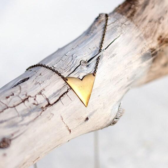 vintage brass arrow necklace