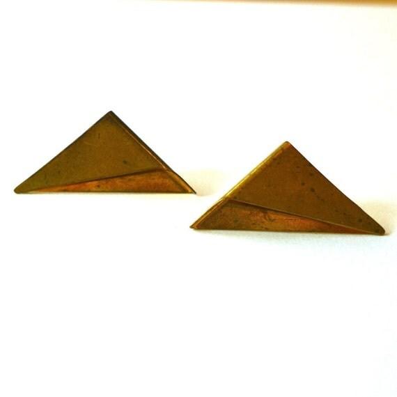 vintage brass folded triangle earrings