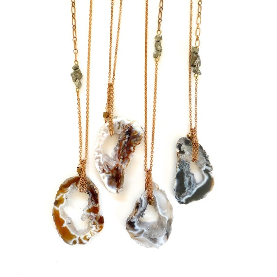 long geode slice necklace with pyrite chunks