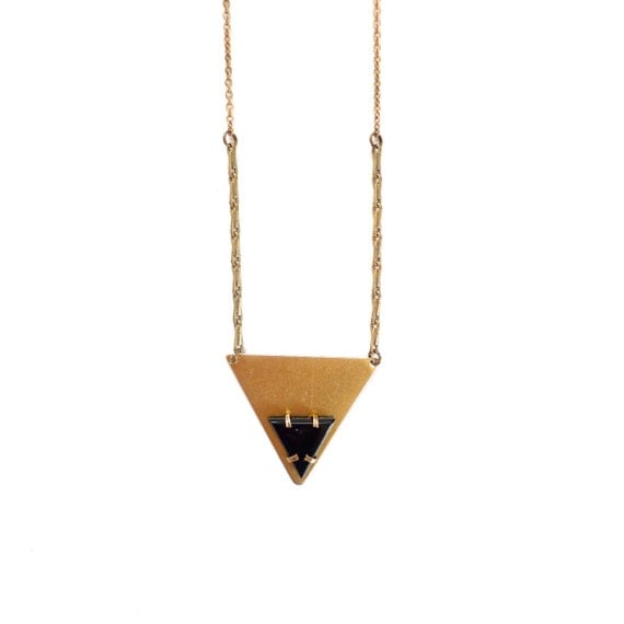 Black onyx triangle pendant necklace