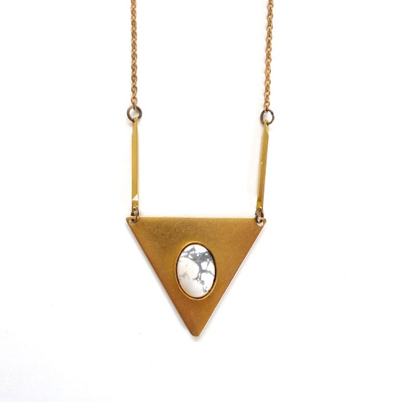 southwest howlite and white triangle necklace