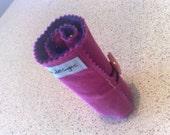 Wool Felt Crayon Roll . . . simple . stylish . easy . fun . . . pink and purple
