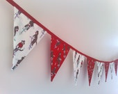 RESERVED LISTING FOR JESSICA Bunting . Flags - Sock Monkeys in Red and White