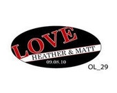 Oval Love Stickers - 2 Inch by 1 Inch Size