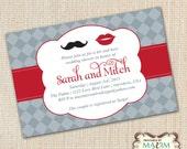 DIY Printable Invitation - Engagement Party, Wedding invitation, Mustache Invitation, Couples Shower Invitation, Rehearsal Dinner Invitation