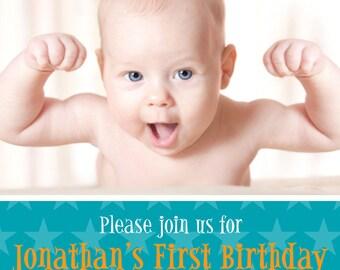 Birthday Party Invitation BOY or GIRL, Year of Firsts Invitation, Custom DIY Printable Digital Birthday Invitation