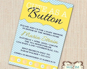 DIY Printable Invitation - Baby Shower Invitation, Cut As A Button Invitation...by Maxim Creative Invites