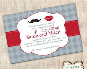 DIY Printable Invitation - Engagement Party, Wedding invitation, Mustache Invitation, Couples Shower Invitation, Rehearsal Dinner Invitation