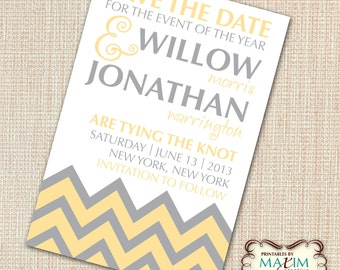 DIY Printable Invitation - Save the Date, Engagement Party, Wedding invitation, Chevron Pattern Invitation, Couples Shower Invitation