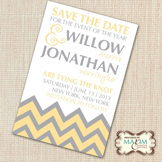 Save The Date Wedding Invitation Ornaments Save The Date: Items Similar To DIY Printable Invitation