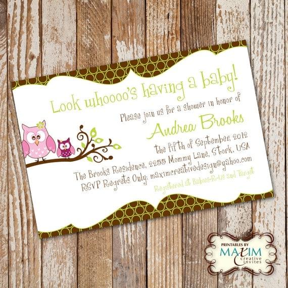 DIY Printable Invitation - Baby Shower Invitation, Party Invitation, Owl Baby Shower....by Maxim Creative Invites