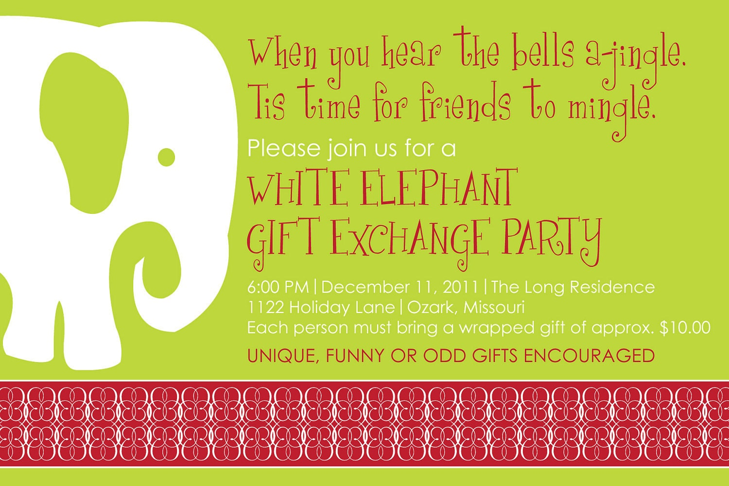 Diy Printable Christmas Party Invitation White Elephant