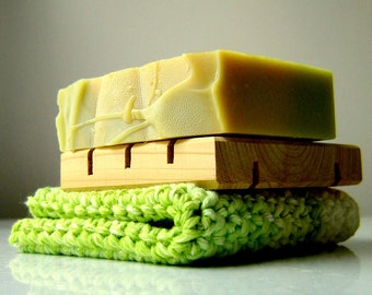 Soap-Cloth-Deck Gift Set -cedar soap deck, crochet washcloth, handmade soap -your choice of scents Mens for Him