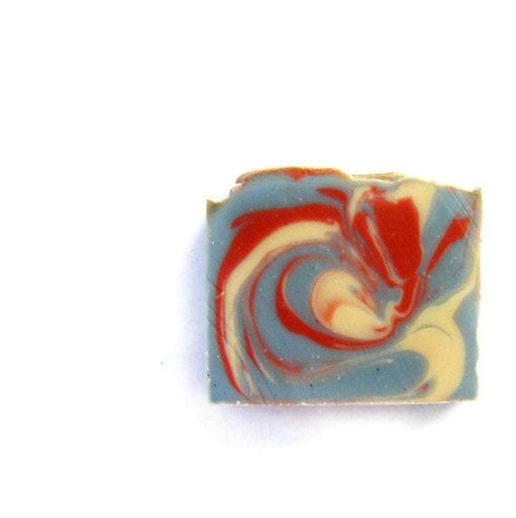 NAG CHAMPA - Cold Process Soap Bar / Beautiful Homemade Soap / red white blue