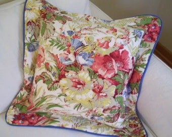 Floral and Blue Cotton Flanged Pillow Cover,  Accent Pillow, Toss Pillow Slipcover