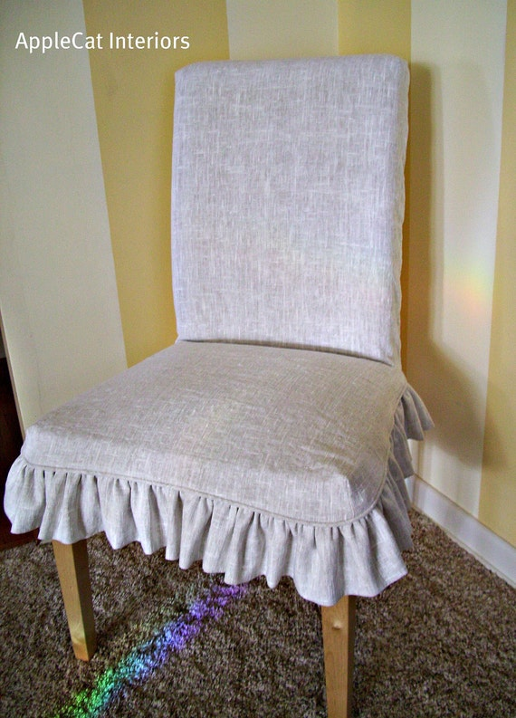 Linen Parson Chair Slipcover fits Ikea Dining Chair