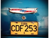 bright yellow cuba licence plate on old vintage blue car in trinidad, cuba 8x8 fine art print
