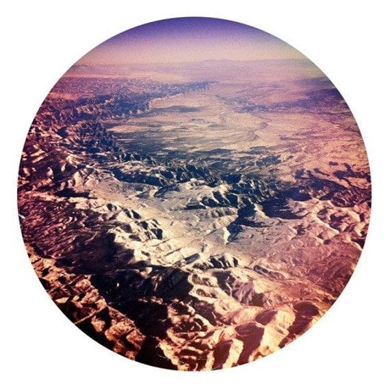 purple pink mountain range from the sky round 8x8 fine art print
