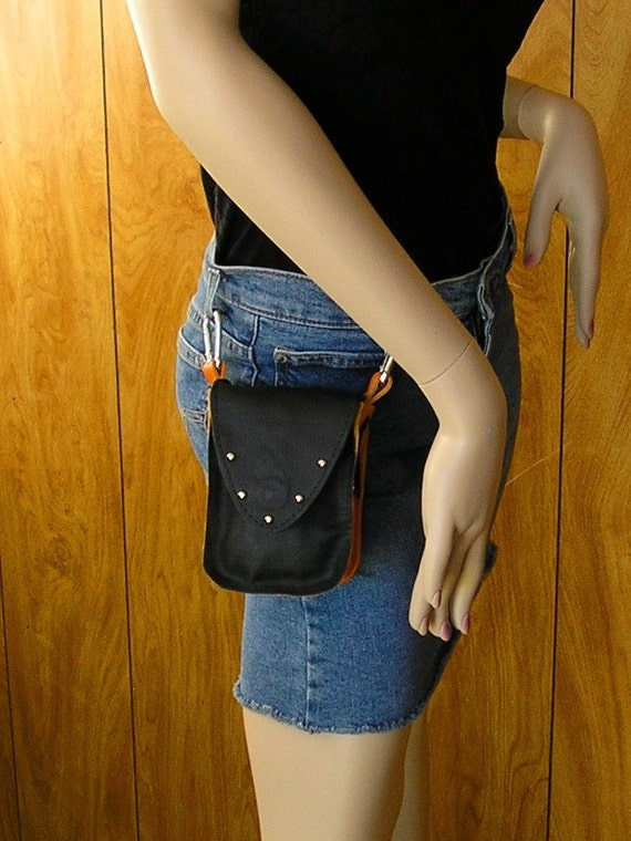 FREE SHIPPING - Clip on Hip Bag in Black and Harley Orange leather with studs